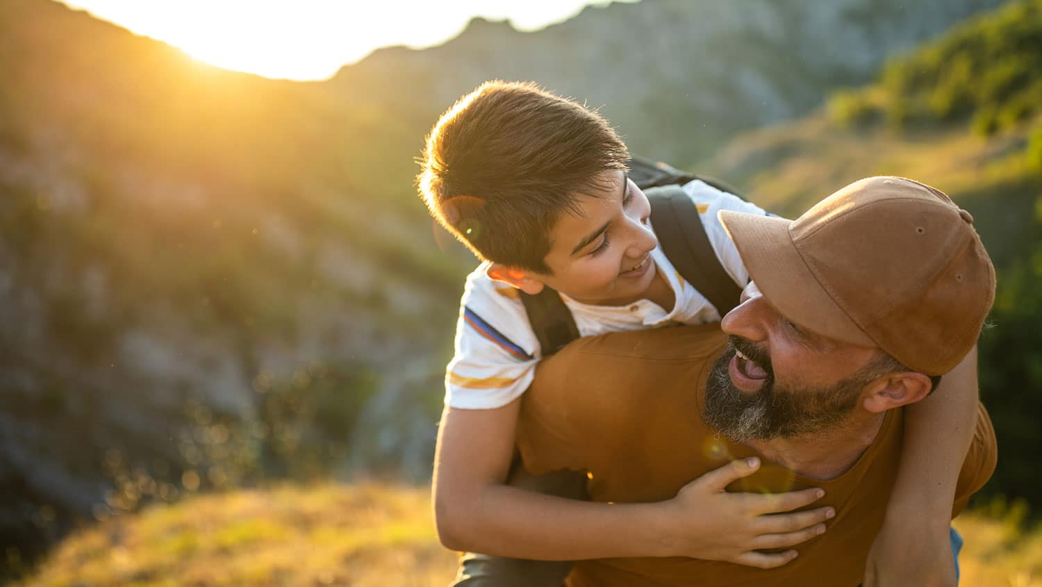 Boy in father's arms